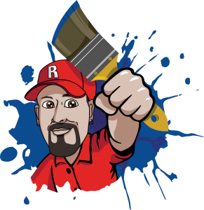 Routon Painting Small Logo. Mike holding a Paint brush.