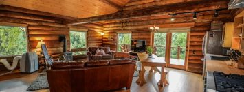 Interior of a log cabin home that was refinish.